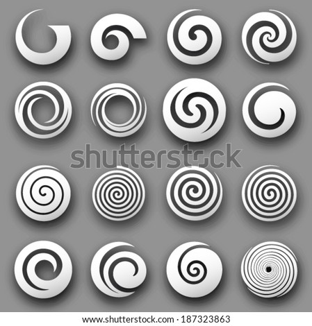 Set of simple vector spiral rounds on a grey background