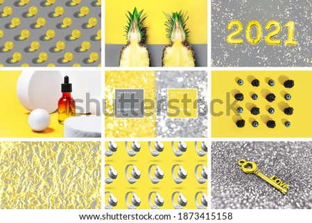 Collage with trendy colors 2021. Lifestyle Illuminating yellow and Ultimate Gray images background concept Royalty-Free Stock Photo #1873415158