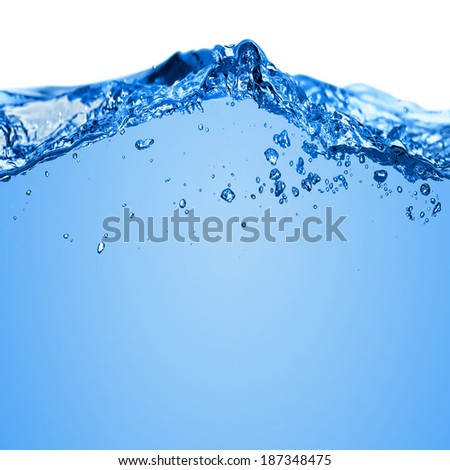 Water wave with bubbles in the sea on a white background for text #187348475
