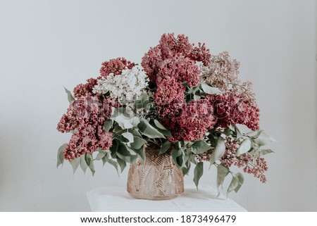 large bouquet of lilac in a pink glass vase on a light background. the concept of welcoming spring. lilac flower bouquet. Royalty-Free Stock Photo #1873496479