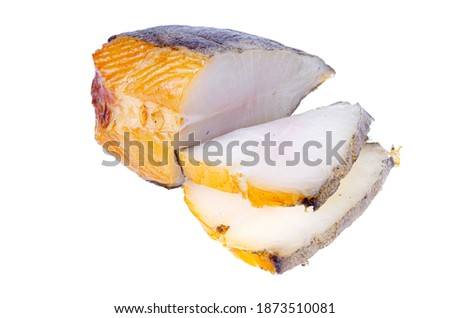 Piece of smoked white halibut fish isolated on white background. Photo