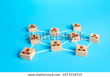 Network of connected people. Interaction between employees and community members. Distribution responsibilities between workers. Social communication. Information exchange relations. Unity cooperation Royalty-Free Stock Photo #1873518319