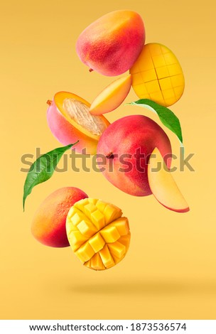 Fresh ripe mango with leaves falling in the air isolated on yellow background. Food levitation concept. High resolution image Royalty-Free Stock Photo #1873536574