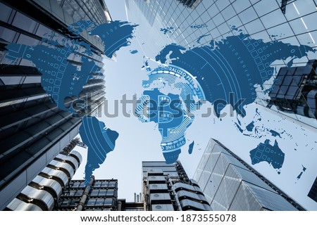 Bitcoin entering mass adoption of hedge funds, family offices, pension funds, VC capital, financial institutions and banks with a backdrop of world map and corporate business skyscrapers Royalty-Free Stock Photo #1873555078