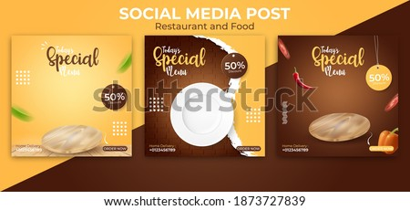 food or culinary social media post template.  editable social post banner ads. Royalty-Free Stock Photo #1873727839