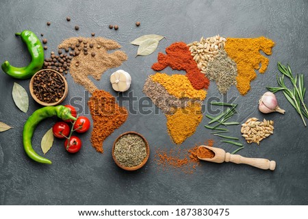 World map made of different spices on grey background Royalty-Free Stock Photo #1873830475