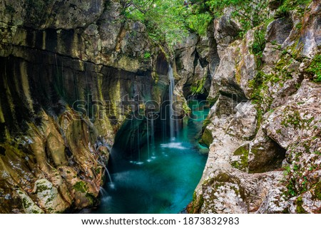 Beautiful waterfalls of Soca gorges. Amazing scenery of Soca valley, Slovenia.