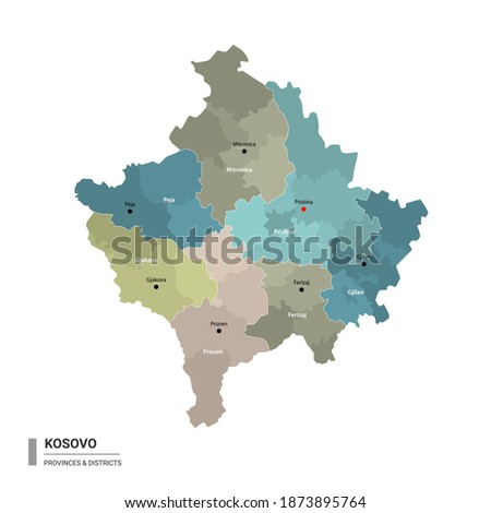 Kosovo higt detailed map with subdivisions. Administrative map of Kosovo with districts and cities name, colored by states and administrative districts. Vector illustration. Royalty-Free Stock Photo #1873895764