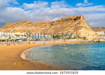 Landscape with Playa Mogan and Puerto de Mogan village, Gran Canaria, Canary islands, Spain #1873955839