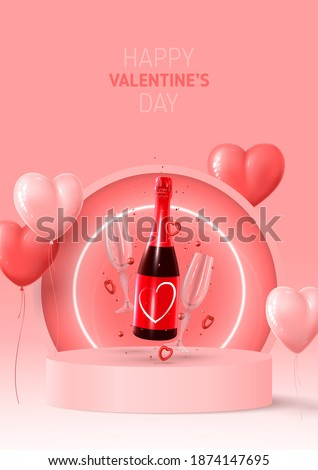 Happy Valentine's Day poster. Holiday background with red and pink ballon, neon circle, round stage, realistic champagne bottle, glasses and confetti. Vector illustration with 3d rednder object. Royalty-Free Stock Photo #1874147695