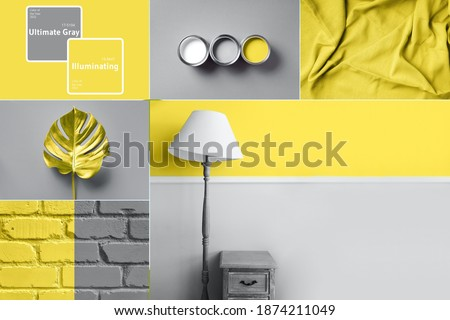 Collage inspired by trendy colors of year 2021. Illuminating yellow and ultimate gray concept. Style design combination. Duotone. Color Psychology. Minimalistic interior. Depression treatment. Royalty-Free Stock Photo #1874211049