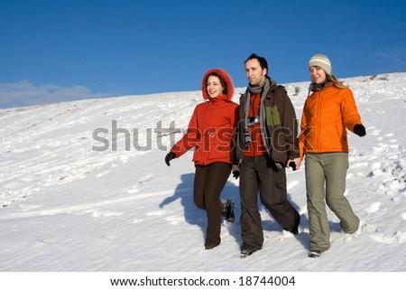 People having fun at sunny day at winter #18744004