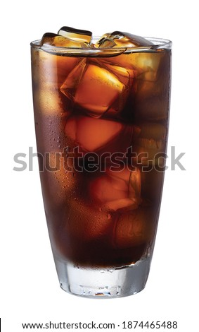 Cold Brew Iced Coffee In A Clear Cup On A White Background Royalty-Free Stock Photo #1874465488