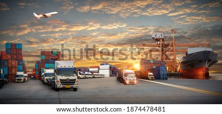 Logistics and transportation of Container Cargo ship and Cargo plane, Industrial Container Cargo freight ship for Logistic Import Export concept #1874478481