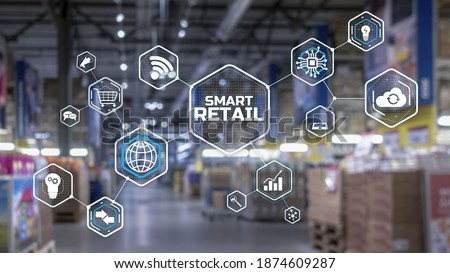 Smart retail 2021 and omni channel concept. Shopping concept 2021. Royalty-Free Stock Photo #1874609287
