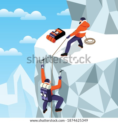 Isometric mountaineering composition with outdoor highland scenery ice mountain and two climbers having hold of rope vector illustration