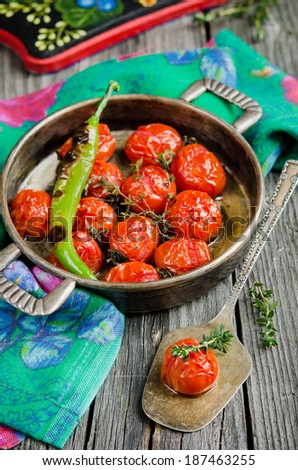 Roasted Tomatoes and green chillies #187463255