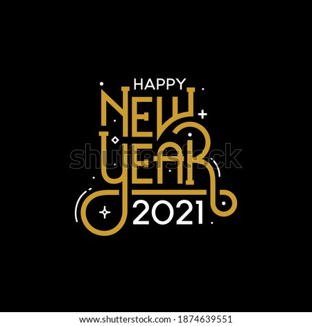 Happy New Year 2021 with lettering typography style for greeting card vector illustration #1874639551