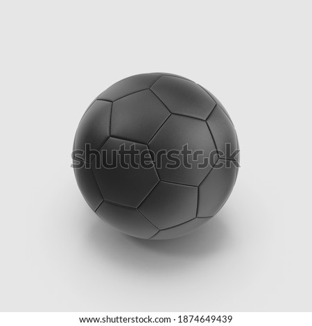 single Black football soccer ball leather material. isolated on white background, 3d illustration, realistic render. perspective view. clipping mask
