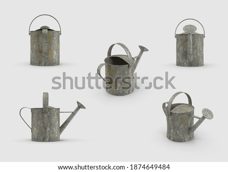a set of Steel made aluminium silver colored old Metal Watering Can collection isolated white background 3d illustration different angles side perspective top back view clipping mask