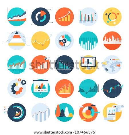 Vector set of flat business chart icons Royalty-Free Stock Photo #187466375