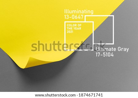 Ultimate Grey and Illuminating colors of the year 2021. Color trend palette. Stylish background Royalty-Free Stock Photo #1874671741
