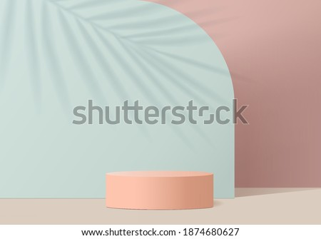 3d valentine background products minimal scene with podium platform. Green 3d podium vector rendering background. podium to show cosmetic product. Stage showcase 3d studio pedestal, pink blue pastel #1874680627