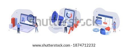 People Characters Analyzing Charts, Graphs, Planning Business Strategy and Managing Data on Laptop and Smartphone. Business Intelligence and Analysis Concept. Flat Isometric Vector Illustration Set. Royalty-Free Stock Photo #1874712232