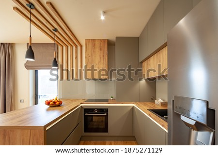 Beautiful Grey Modern Kitchen in a Luxury Apartment with Stainless Steel Appliances  Royalty-Free Stock Photo #1875271129