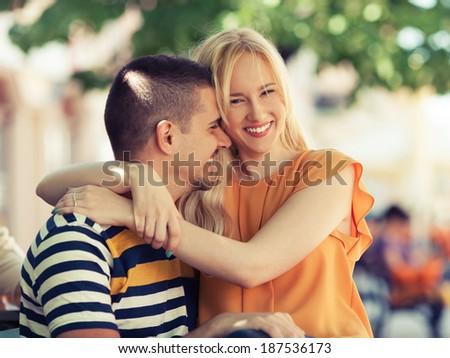 Beautiful happy couple embracing
