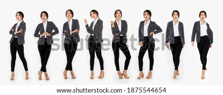 Different pose of same Asian woman full body portrait set on white background wearing formal business suit in studio collection . Royalty-Free Stock Photo #1875544654