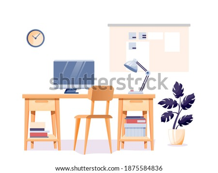 Modern home office interior design background. Room at home for work with chair, table with lamp and computer monitor, clock on wall isolated on white. Empty cosy area for working vector illustration. Royalty-Free Stock Photo #1875584836