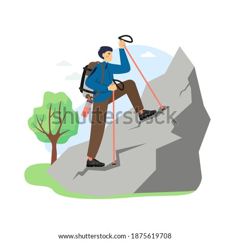 Hiking scene, flat vector illustration. Traveler, hiker, climber male character with backpack climbing the rock. Mountain tourism, travel adventure, expedition, mountaineering.