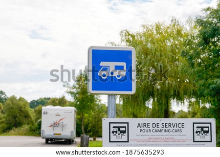 camper van parking sign area for motorhome signage with blue roadsign panel means aire de service in french