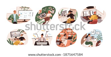 Set of creative workers working at computers and laptops. UI and motion designer, art director, game developer, illustrator, video editor. Color flat vector illustration isolated on white background Royalty-Free Stock Photo #1875647584