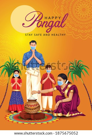 Happy Pongal celebration with sugarcane, Rangoli, pot and rice. Tamil family offering prayers. Indian cultural festival celebration concept vector illustration greetings. covid 19, coronavirus concept #1875675052