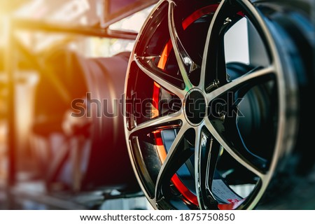 Wheel Alloy Wheels Rim or Mag Wheel high performance auto part decoration Royalty-Free Stock Photo #1875750850