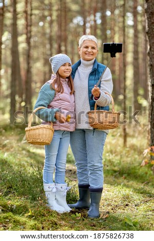 picking season, leisure and people concept - happy smiling grandmother and granddaughter with mushrooms in baskets taking picture with smartphone on selfie stick in forest