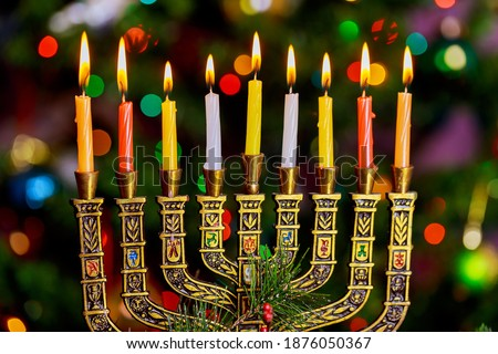 Kwanzaa holiday celebration with african festival candles