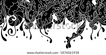 Seamless pattern with slime and tentacles. Urban black abstract cartoon background. Royalty-Free Stock Photo #1876061938