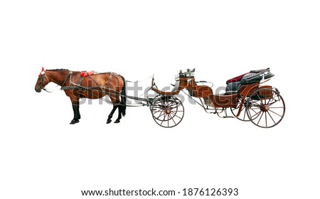 Brown horse and old classic open carriage coach Isolated on white background Royalty-Free Stock Photo #1876126393