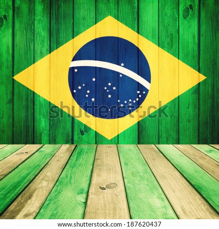 Wooden background with flag of Brazil #187620437