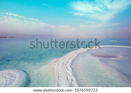 Texture of Dead Sea. Seascape, unique sea. Salty sea shore. Israel Royalty-Free Stock Photo #1876598722
