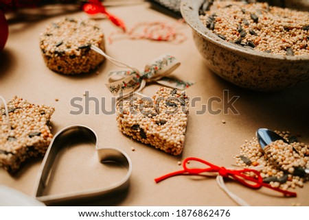 Homemade Birdseed Christmas Ornaments tied with Ribbon Royalty-Free Stock Photo #1876862476