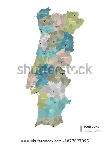 Portugal higt detailed map with subdivisions. Administrative map of Portugal with districts and cities name, colored by states and administrative districts. Vector illustration. Royalty-Free Stock Photo #1877027095