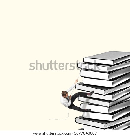 Manager fighting with huge bunch of documents and books. Copyspace to insert your text. Modern design. Contemporary art. Creative conceptual and colorful collage. Office worker lifestyle concept.