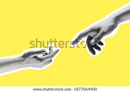 Contemporary art collage. Two hands male and female reaching towards each other. Royalty-Free Stock Photo #1877064400
