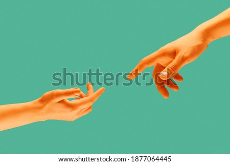 Touch of two hands isolated on light green background. Modern art collage. Royalty-Free Stock Photo #1877064445