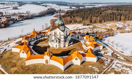 Pilgrimage Church of St John of Nepomuk at Zelena Hora,Czech republic, is the masterpiece of architect Santini Aichl.Czech cultural heritage and UNESCO World heritage monument.Baroque Gothic in Europe Royalty-Free Stock Photo #1877091547