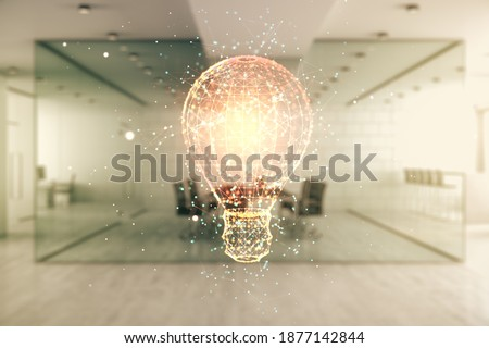 Abstract virtual light bulb hologram on a modern furnished office interior background, idea concept. Multiexposure